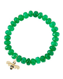 8mm Faceted Green Onyx Beaded Bracelet with 14k Gold/Diamond Small Bee Charm (Made to Order) ...
