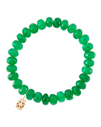 8mm Faceted Green Onyx Beaded Bracelet with 14k Gold/Diamond Medium Ladybug Charm (Made to ...