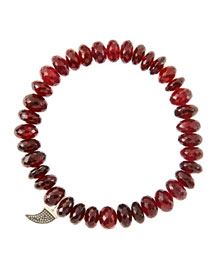 8mm Faceted Garnet Beaded Bracelet with 14k Gold/Diamond Small Horn Charm (Made to Order)