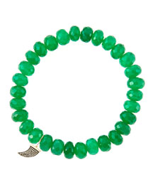 8mm Faceted Green Onyx Beaded Bracelet with 14k Gold/Diamond Small Horn Charm (Made to Order) ...