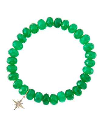 8mm Faceted Green Onyx Beaded Bracelet with 14k Gold/Diamond Small Starburst Charm (Made to ...