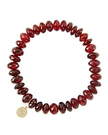 8mm Faceted Garnet Beaded Bracelet with 14k Yellow Gold/Diamond Small Disc Charm (Made to ...