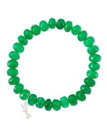 8mm Faceted Green Onyx Beaded Bracelet with 14k White Gold/Diamond Small Love Charm (Made to ...