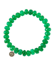 8mm Faceted Green Onyx Beaded Bracelet with 14k Gold/Diamond Round Evil Eye Charm (Made to ...