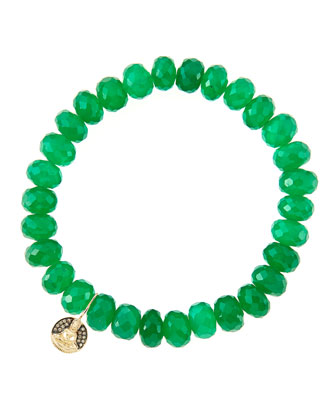 8mm Faceted Green Onyx Beaded Bracelet with 14k Gold/Diamond Small Buddha Charm (Made to Order) ...