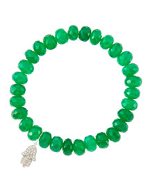 8mm Faceted Green Onyx Beaded Bracelet with 14k White Gold/Diamond Small Hamsa Charm (Made to ...