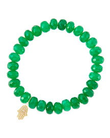 8mm Faceted Green Onyx Beaded Bracelet with 14k Yellow Gold/Diamond Small Hamsa Charm (Made to ...