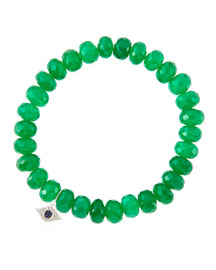 8mm Faceted Green Onyx Beaded Bracelet with 14k White Gold/Diamond Small Evil Eye Charm (Made ...