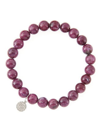 8mm Natural Ruby Beaded Bracelet with 14k White Gold/Diamond Small Disc Charm (Made to Order) ...