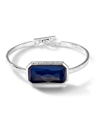 Sterling Silver Wonderland Blue Mother-of-Pearl Oval Bangle
