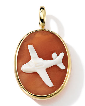 18k Gold Oval Airplane Cameo Charm