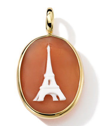 18k Gold Oval Eiffel Tower Cameo Charm