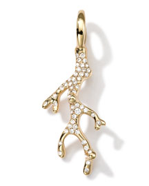 18k Gold Coral Branch Charm with Diamonds