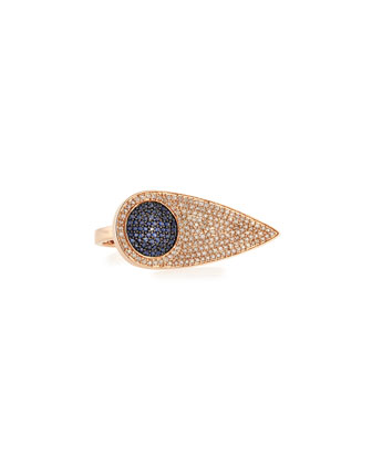 Sideways Teardrop Eye Ring with Diamonds & Sapphires