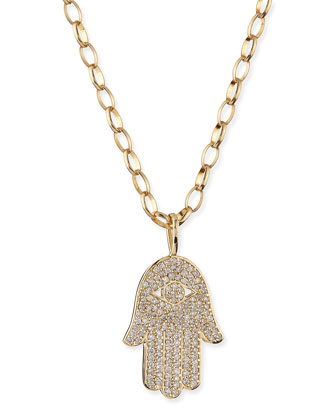 Pave Diamond Hamsa Charm Necklace