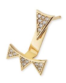 Single Earring with Diamond Triangle & 3-Triangle Ear Jacket