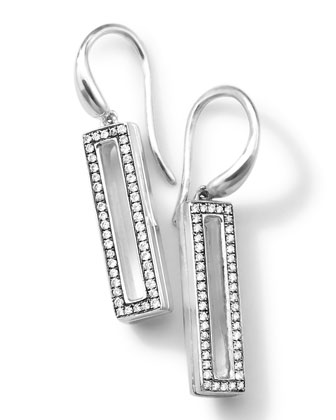 Silver Rock Star Candy Small Rectangular Drop Earrings with Diamonds