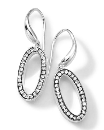 Sterling Silver Delicato Oval Earrings with Diamonds