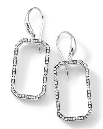 Silver Rock Star Octagon Frame Drop Earrings with Diamonds