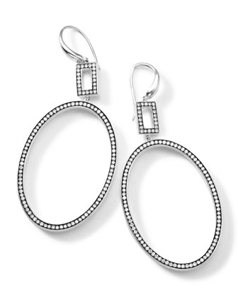 Silver Rock Star Large Oval Frame Earrings with Diamonds