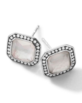 Sterling Silver Stella Mother-of-Pearl Stud Earrings with Diamonds