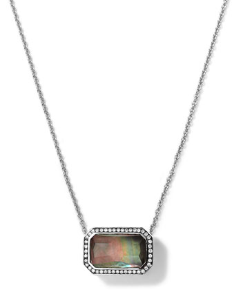 Silver Stella Rectangle Black Shell Pendant Necklace with Diamonds