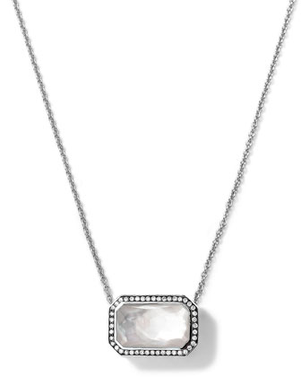 Silver Stella Rectangle Mother-of-Pearl Pendant Necklace with Diamonds