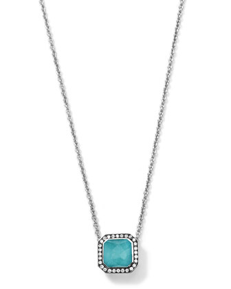 Silver Stella Turquoise Pendant Necklace with Diamonds