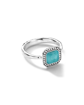 Sterling Silver Stella Square Turquoise Ring with Diamonds