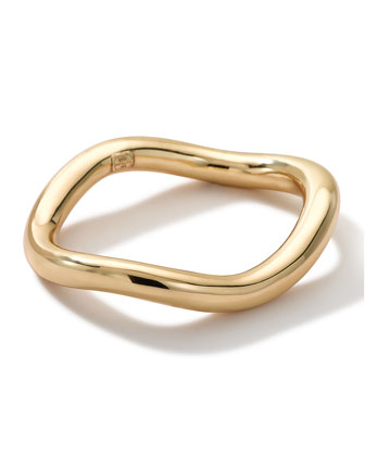 18k Gold Smooth Tubing Thick Wavy Hinged Bangle