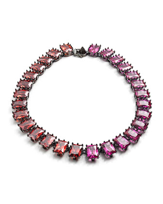 Rectangle Estate Necklace, Pink/Orange