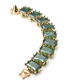 Large Rectangle Estate Bracelet, Green
