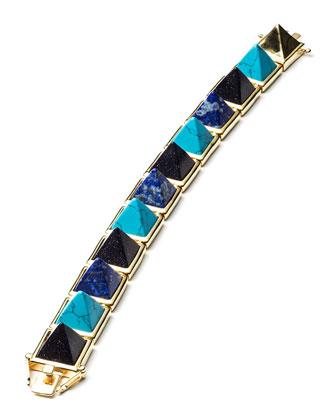 Multi-Stone Pyramid Bracelet, Blue