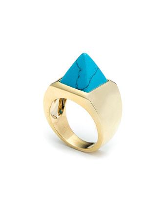 Imitation Turquoise Pyramid Ring
