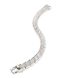Small Rhodium-Plated Pave Crystal Pyramid Bracelet