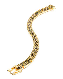 Small Gold-Plated Pave Crystal Pyramid Bracelet, Black