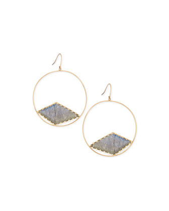 Hoop Earrings with Diamond-Shaped Labradorite