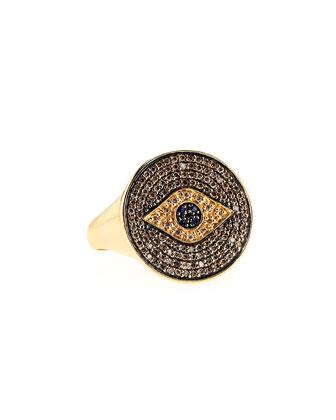 Pave Diamond & Sapphire Evil Eye Ring