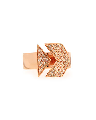 14k Rose Gold White Diamond Arrow Ring