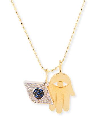 Hamsa & Evil Eye Duo Charm Necklace