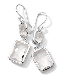Sterling Silver Wonderland Rectangular Mini-Drop Earrings in Clear Quartz