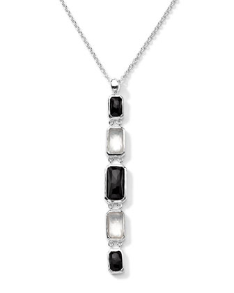 Sterling Silver Wonderland Rectangular Linear 5-Stone Pendant Necklace in Astaire