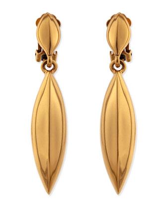 Golden Disc Clip-On Earrings