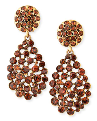 Crystal Drop Earrings, Toffee