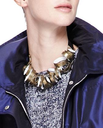 Metal-Circle Tie Necklace