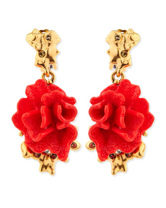Red Coral-Motif Clip-On Earrings