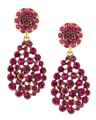 Crystal Teardrop Earrings, Magenta