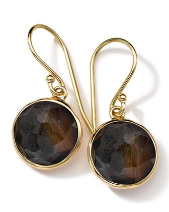18k Gold Rock Candy Mini Lollipop Earrings, Quartz/Hematite