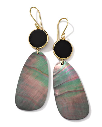 18K Gold Ondine 2-Drop Earrings in Onyx/Black Shell