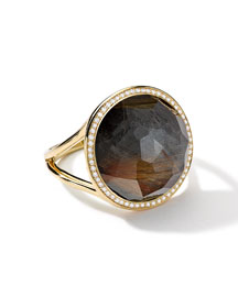 18k Gold Rock Candy Lollipop Ring, Quartz/Hematite/Diamonds